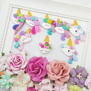 Rainbow unicorn head - Embellishment Clay Bow Centre