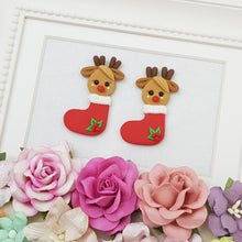 Load image into Gallery viewer, Deer in stocking - Embellishment Clay Bow Centre