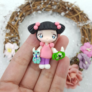Girl with monster friends - Handmade Flatback Clay Bow Centre