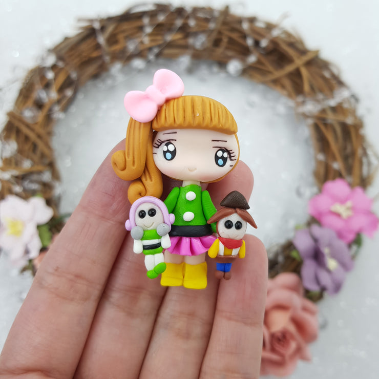 Cutie girl with toys - Embellishment Clay Bow Centre