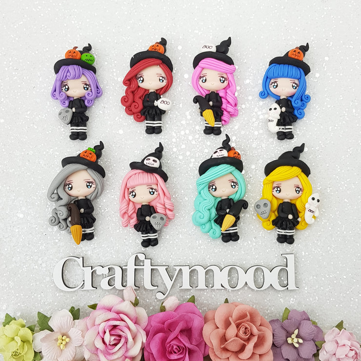 Halloween witch collection - Handmade Flatback Clay Bow Centre