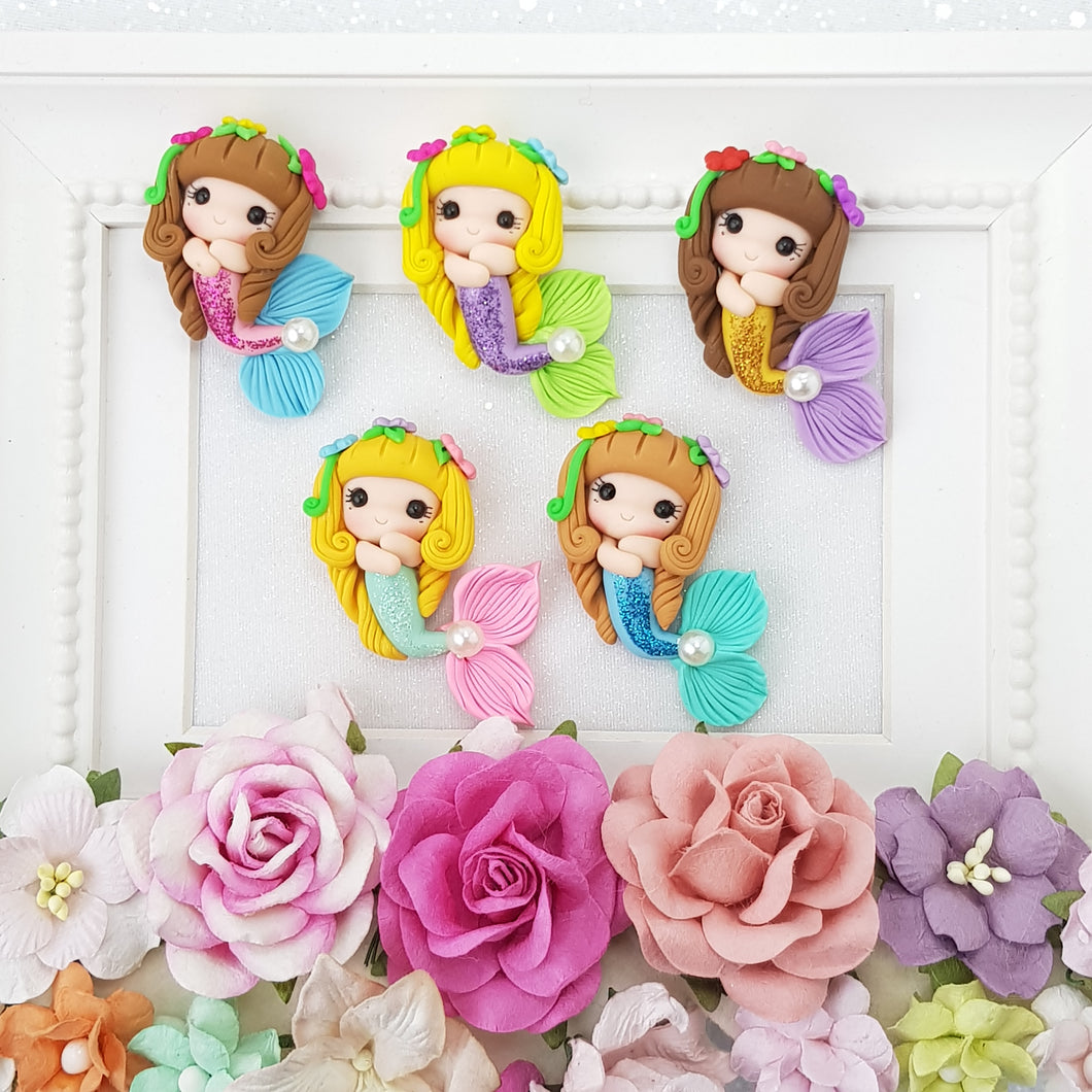 Colourful Spring Mermaid - Handmade Flatback Clay Bow Centre