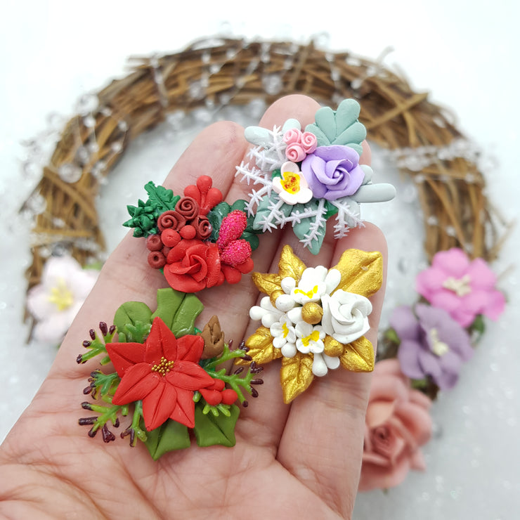 Beautiful flower cluster - Embellishment Clay Bow Centre