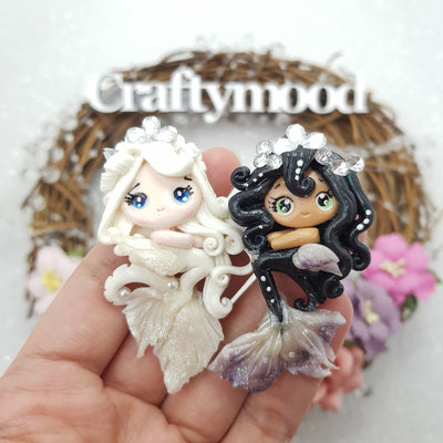 Gorgeous White and Black Mermaid - Handmade Flatback Clay Bow Centre