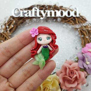 Cutie Mermaid Girl - Embellishment Clay Bow Centre