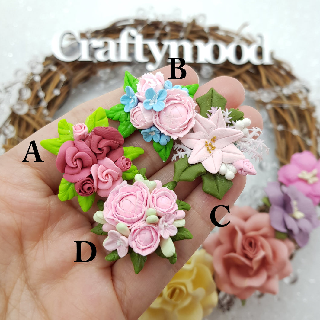 Flower cluster pastel - Embellishment Clay Bow Centre