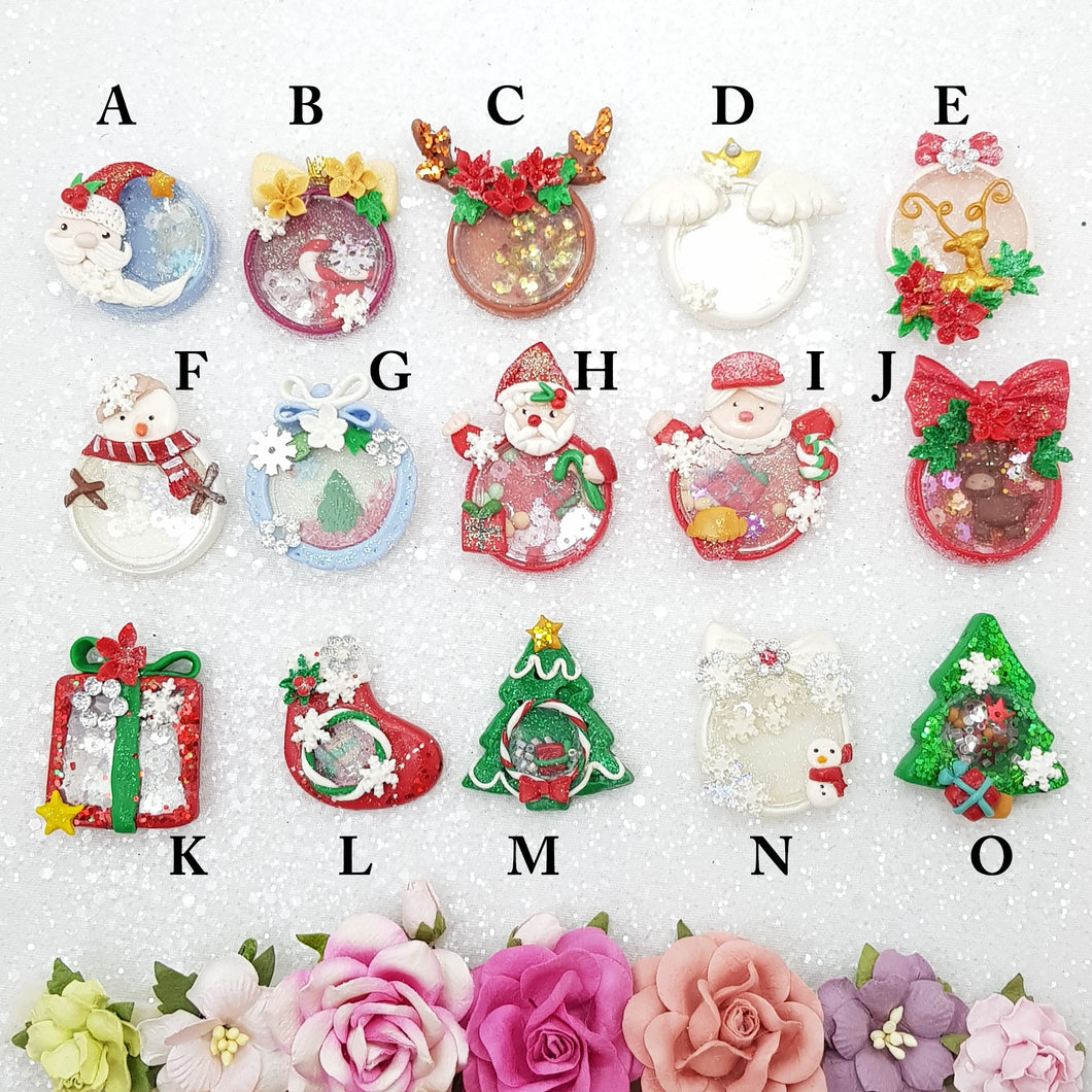 Beautiful Christmas Shaker - Embellishment Clay Bow Centre