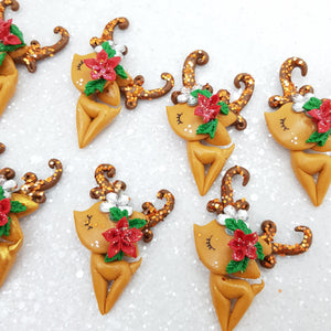 Christmas Golden Reindeer - Embellishment Clay Bow Centre
