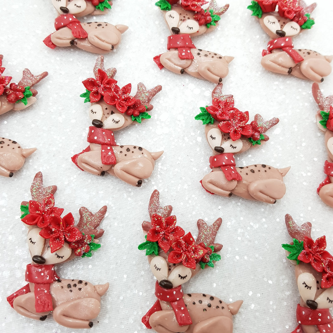 Gorgeous Christmas Reindeer - Handmade Flatback Clay Bow Centre