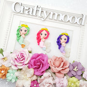 Adorable mermaid friends - Handmade Flatback Clay Bow Centre