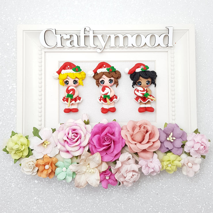 Christmas Candy Girls - Embellishment Clay Bow Centre