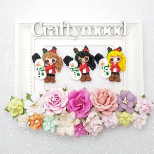 Christmas girl with snowman - Handmade Flatback Clay Bow Centre