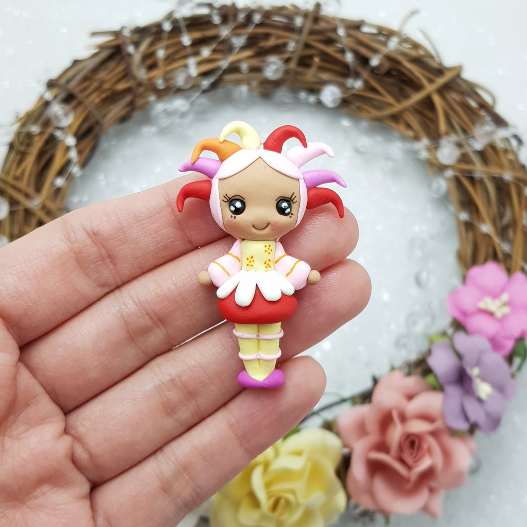 Adorable yellow red dress girl - Handmade Flatback Clay Bow Centre