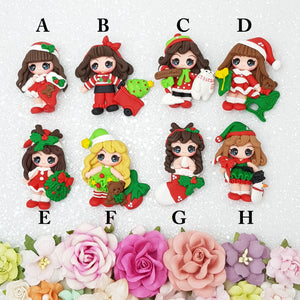 Adorable big eyes Christmas girls - Handmade Flatback Clay Bow Centre