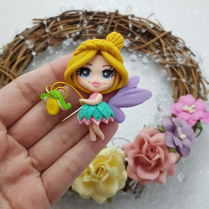 Cute fairy girl pout - Embellishment Clay Bow Centre