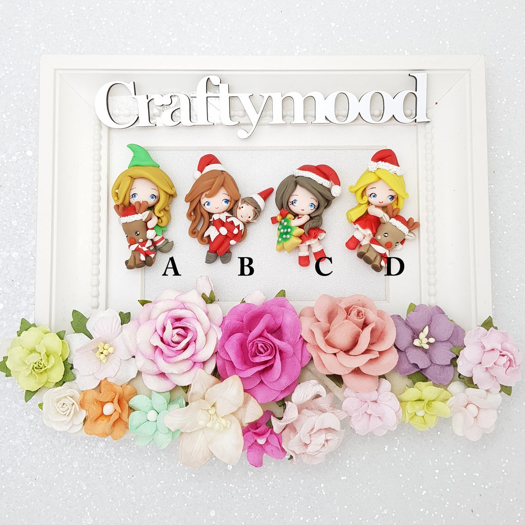 LIMITED! SET OF 4 Adorable Christmas elf girl - Handmade Flatback Clay Bow Centre