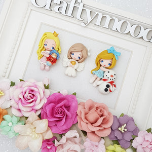 LIMITED ! SET of 3 Adorable Christmas angel and girls - Embellishment Clay Bow Centre
