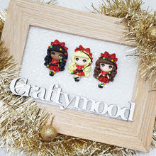 Load image into Gallery viewer, Christmas girl B - Handmade Flatback Clay Bow Centre