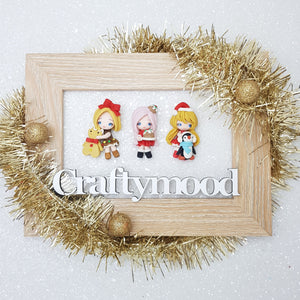 LIMITED ! SET of 3 Adorable Christmas girls - Embellishment Clay Bow Centre