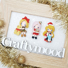Load image into Gallery viewer, LIMITED ! SET of 3 Adorable Christmas girls - Embellishment Clay Bow Centre