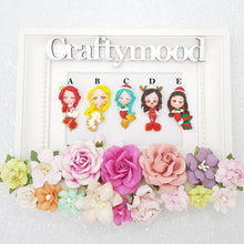 Load image into Gallery viewer, Cute Christmas Mermaid Girl - Embellishment Clay Bow Centre cyber