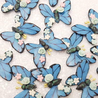 Blue Butterfly - Embellishment Clay Bow Centre