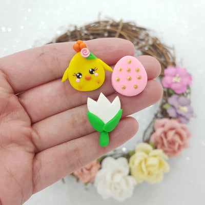 sale chick tulip easter egg - set of 3 - Embellishment Clay Bow Centre