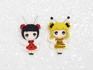 Handmade Clay Charm - New Big Eyes Bee, Ladybug - Crafty Mood