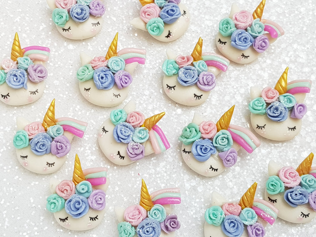 Clay Charm Embellishment - NEW Sleepy Unicorn Head Rainbow - B - Crafty Mood