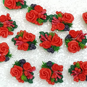 Flower Cluster Red - Handmade Flatback Clay Bow Centre - Crafty Mood