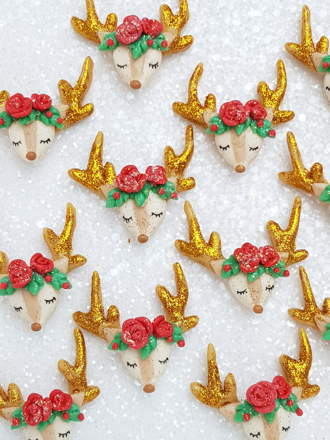 Clay Charm Embellishment New sleepy reindeer sh red