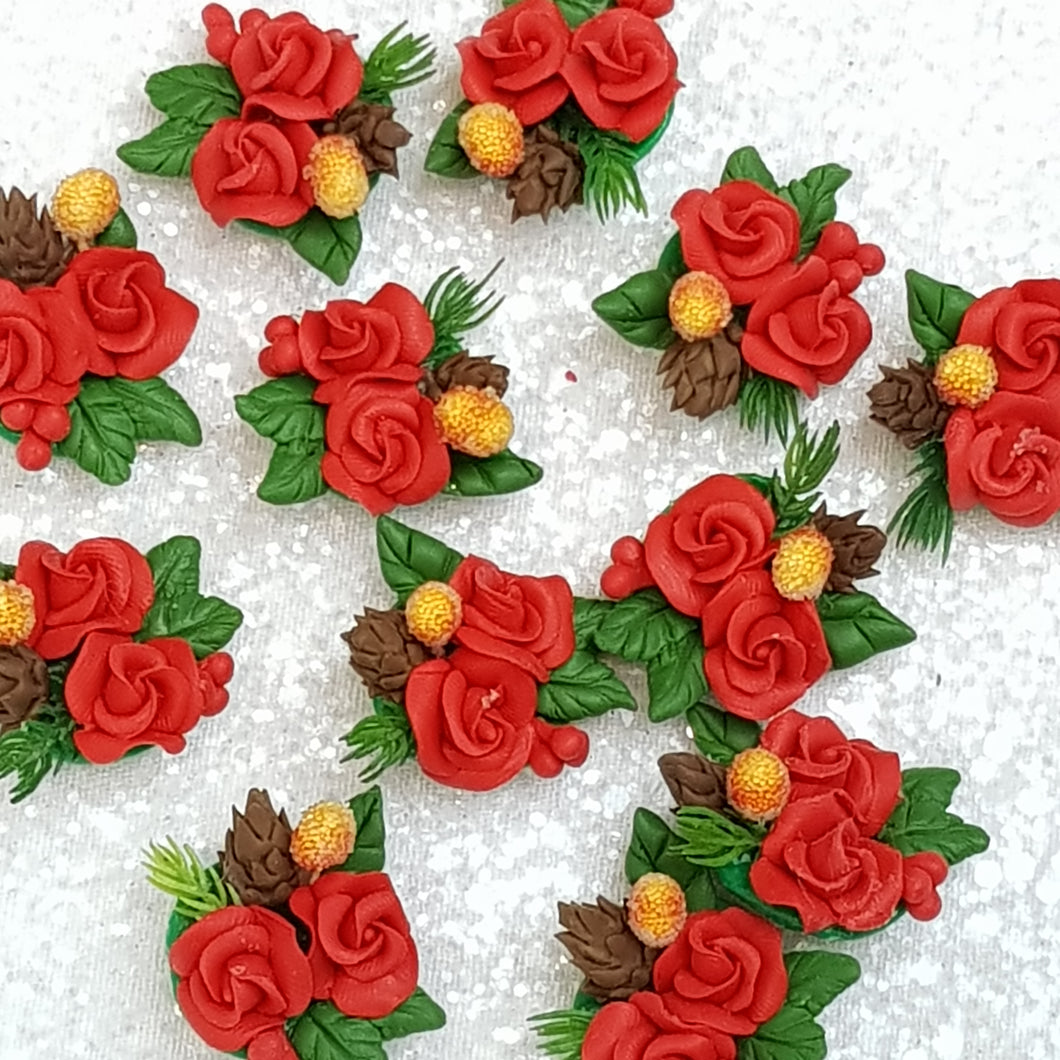 Red Flower Cluster  - Embellishment Clay Bow Centre - Crafty Mood