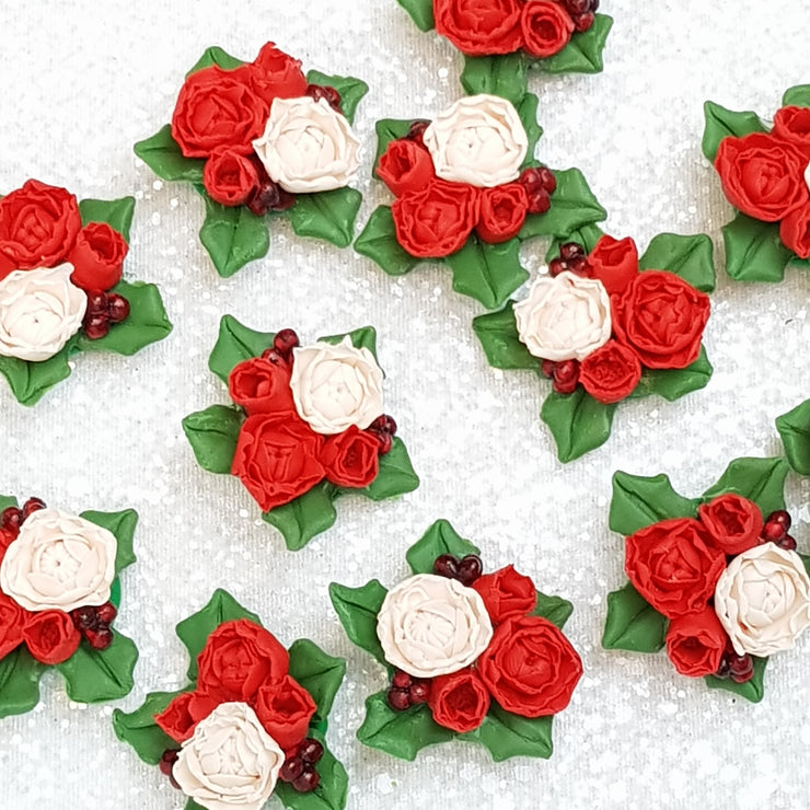 Red Flower Cluster C - Embellishment Clay Bow Centre - Crafty Mood