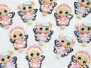 Clay Charm Embellishment - NEW Big Eyes Butterfly Doll - Crafty Mood
