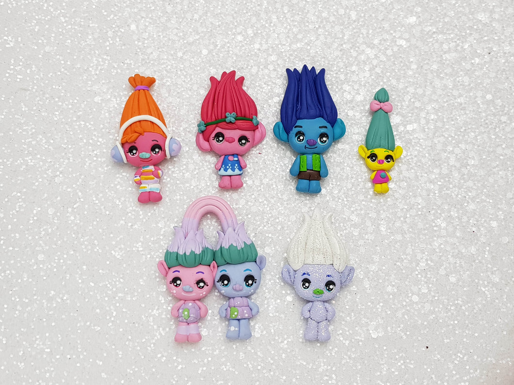 Clay Charm Embellishment - NEW Big Eyes Set of 6 Troll - Crafty Mood
