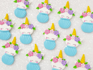Clay Charm Embellishment - Cupcake Unicorn Delight - Blue - Crafty Mood