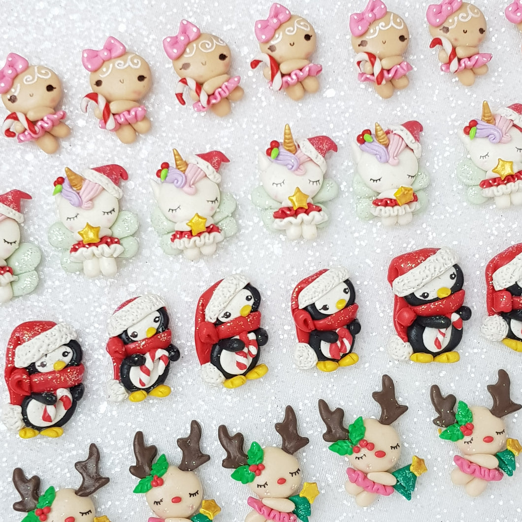 Christmas Gingerbread, Unicorn, Penguin, Deer - Handmade Flatback Clay Bow Centre - Crafty Mood
