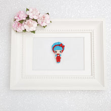 Load image into Gallery viewer, Sale Clay Charm Embellishment - Mini Lux Blue Girl - Crafty Mood