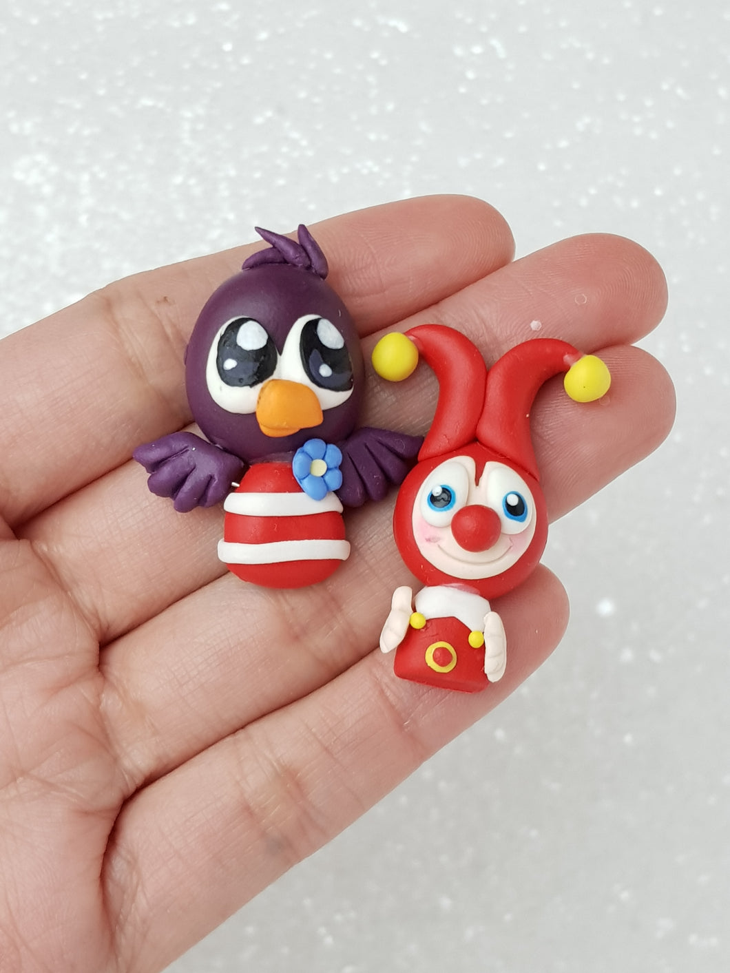 Clay Charm Embellishment - Bird or Clown - Crafty Mood