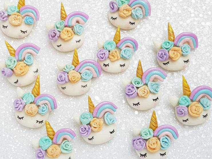 Clay Charm Embellishment - NEW Sleepy Unicorn Head Rainbow - D - Crafty Mood
