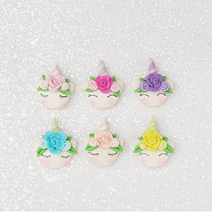 Clay Charm Embellishment - Unicorn Head with Flower - Crafty Mood