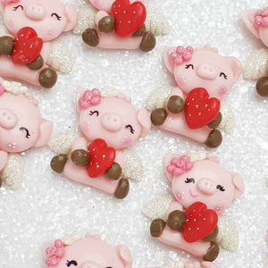 Clay Charm Embellishment - NEW I HEART PIG - Crafty Mood