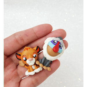 Clay Charm Embellishment - Lion and Monkey - Crafty Mood