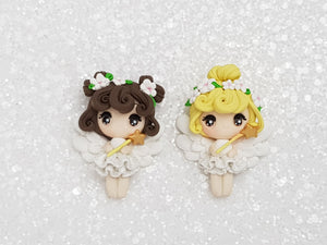 Clay Charm Embellishment - New Big Eyes Angel Fairy B - Crafty Mood
