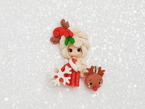 Clay Charm Embellishment - New Christmas Girl and deer head - Crafty Mood