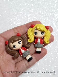Handmade Clay Charm - New Big Eyes School Girl