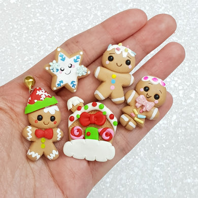 Cute Ginger Bread - Handmade Flatback Clay Bow Centre