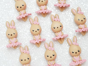 Clay Charm Embellishment - NEW Bunny Ballerina pink beige - Crafty Mood