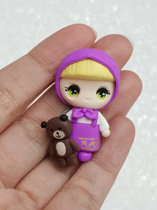 Handmade Clay Charm - New Big Eyes Girl and Bear - Crafty Mood