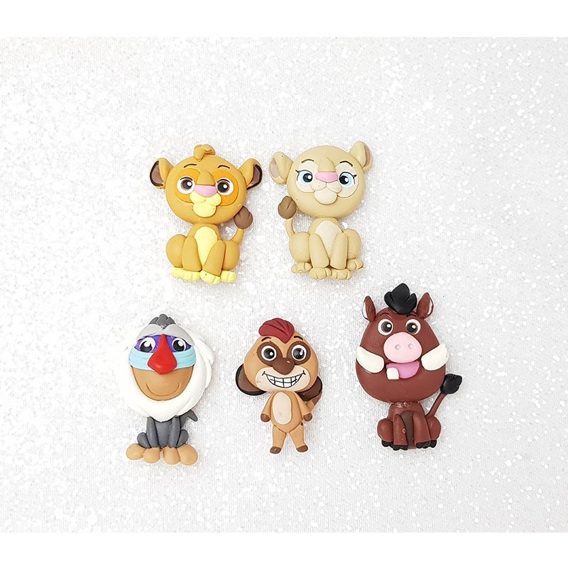 Clay Charm Embellishment - Lion and Friends Big Eyes - Crafty Mood